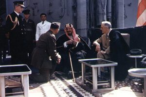 Franlin D Roosevelt meets with King Ibn Saud, of Saudi Arabia, on board USS Quincy in the Great Bitter Lake, Egypt, on 14 February 1945.