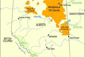 Athabasca Oil Sands map - Tar Sands